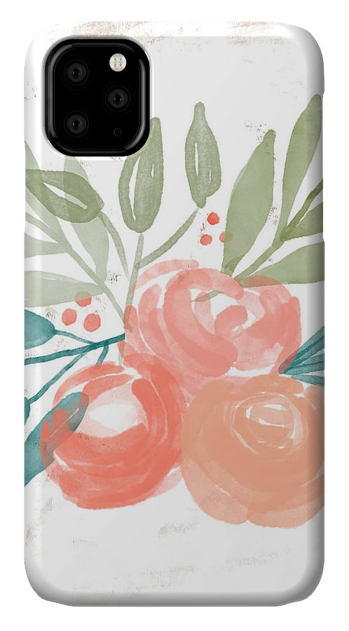 Roses IPhone 11 Case featuring the mixed media Pretty Coral Roses 2- Art By Linda Woods by Linda Woods