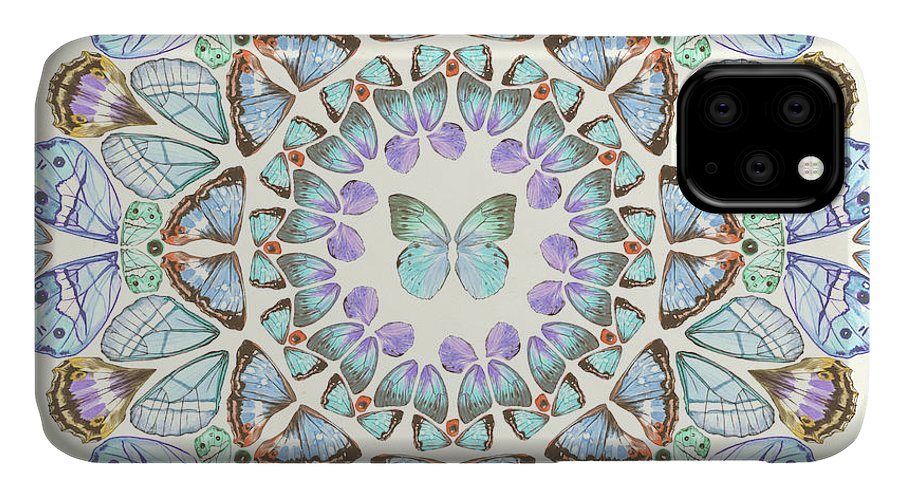 Animals & Nature+butterflies & Bees IPhone Case featuring the painting Prosperity Mandala IIi by Melissa Wang