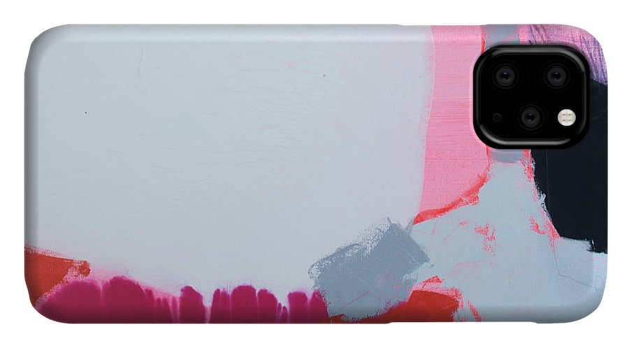 Abstract IPhone 11 Case featuring the painting Pussycats In Pussy Hats by Claire Desjardins