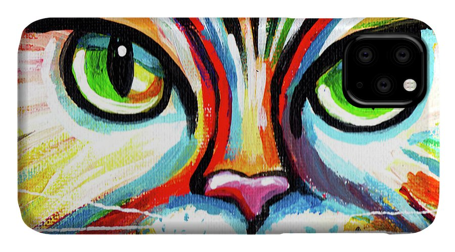 Cat IPhone Case featuring the painting Rainbow Cat Face by Genevieve Esson