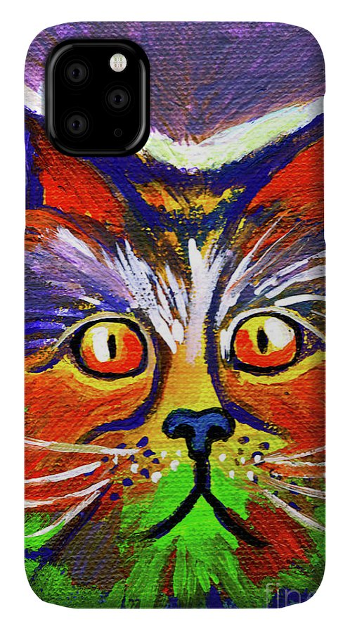 Cat IPhone Case featuring the painting Rainbow Cat With Orange Eyes by Genevieve Esson