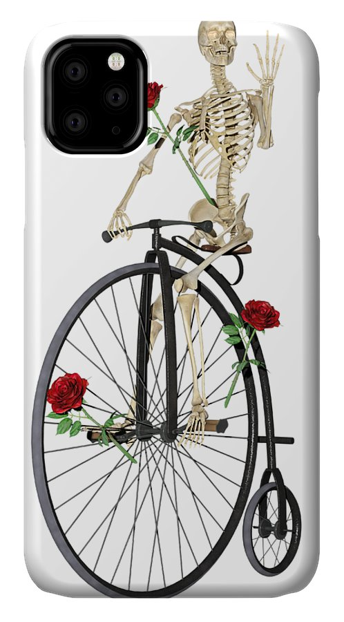 Skeleton IPhone 11 Case featuring the digital art Rambling Rose Stroll by Betsy Knapp