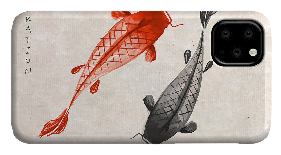 Symbol IPhone Case featuring the digital art Red And Black Koi Carps Hand Drawn With by Elina Li