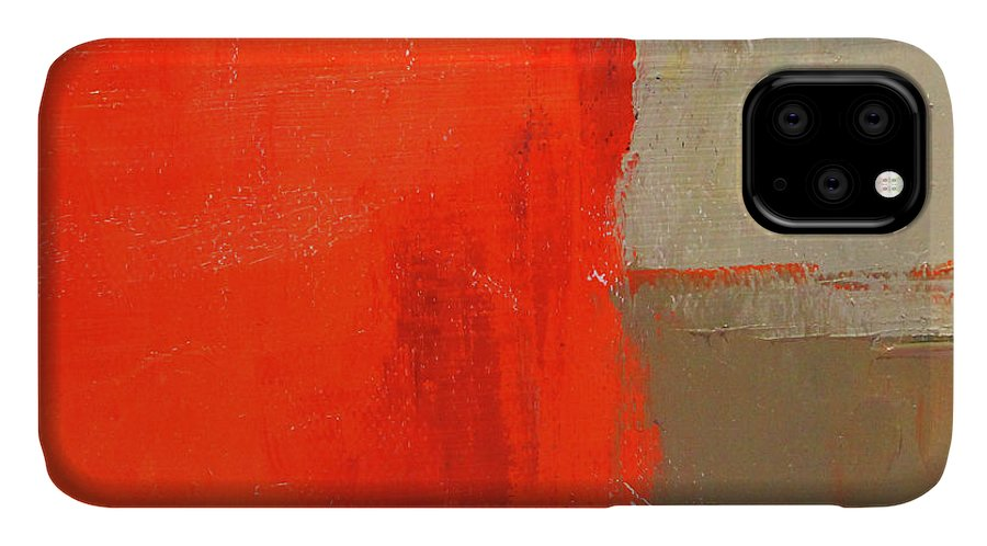 Red Abstract IPhone Case featuring the painting Red Block Abstract by Nancy Merkle