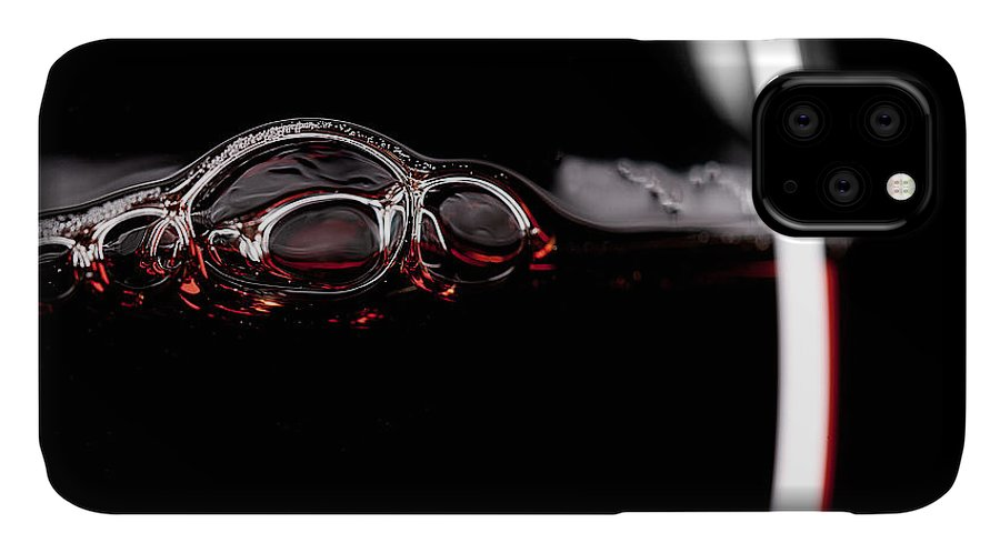 Drop IPhone Case featuring the photograph Red Wine Glass Silhouette On Black by R.classen
