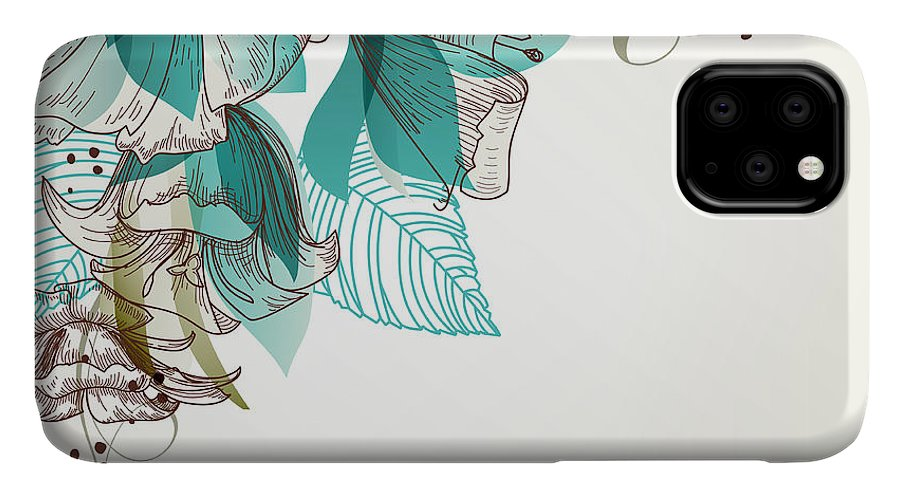Gift IPhone Case featuring the digital art Retro Flowers Vector Illustration by Danussa
