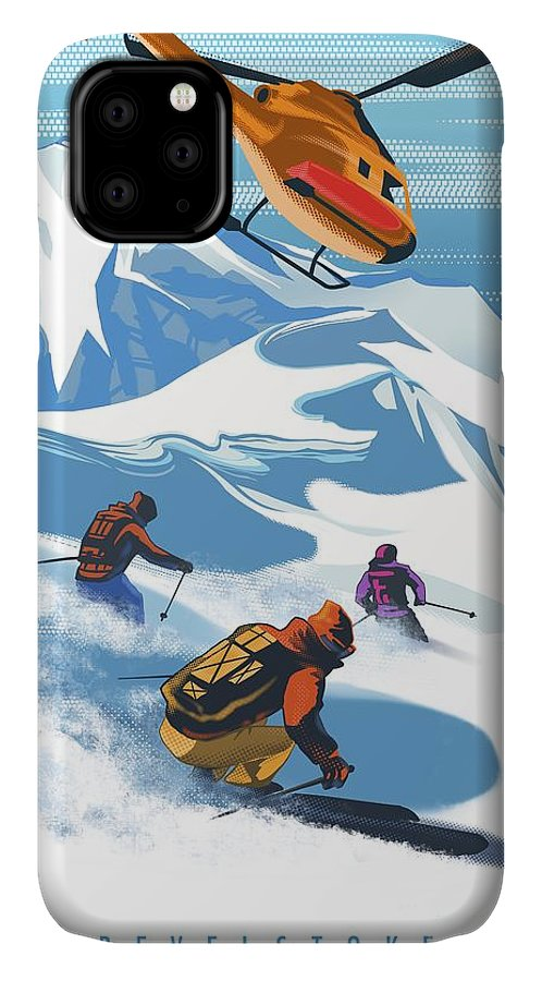 Skiing IPhone Case featuring the painting Retro Revelstoke Heliski Travel Poster by Sassan Filsoof