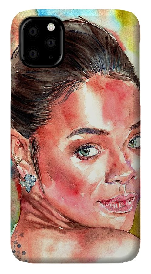 Rihanna IPhone Case featuring the painting Rihanna Portrait by Suzann Sines