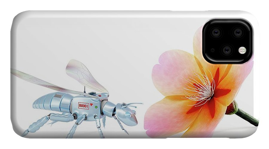 Animal IPhone Case featuring the photograph Robot Bee And Flower by Patrick Landmann/science Photo Library