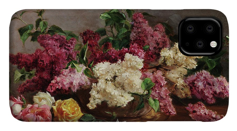 Antonio Jose Da Costa IPhone Case featuring the painting Rose Lilacs, 1920 by Antonio Jose da Costa