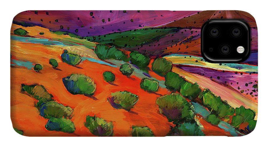 New Mexico IPhone Case featuring the painting Sage Slopes by Johnathan Harris