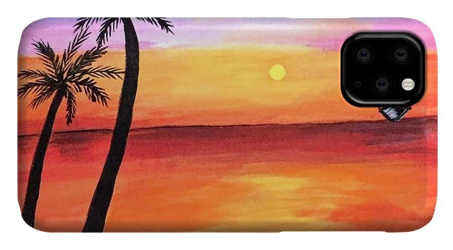 Canvas IPhone Case featuring the painting Scenary by Aswini Moraikat Surendran