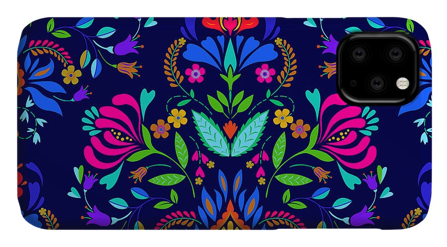 Symbol IPhone Case featuring the digital art Seamless Floral Folk Pattern. Slavic by Rosapompelmo