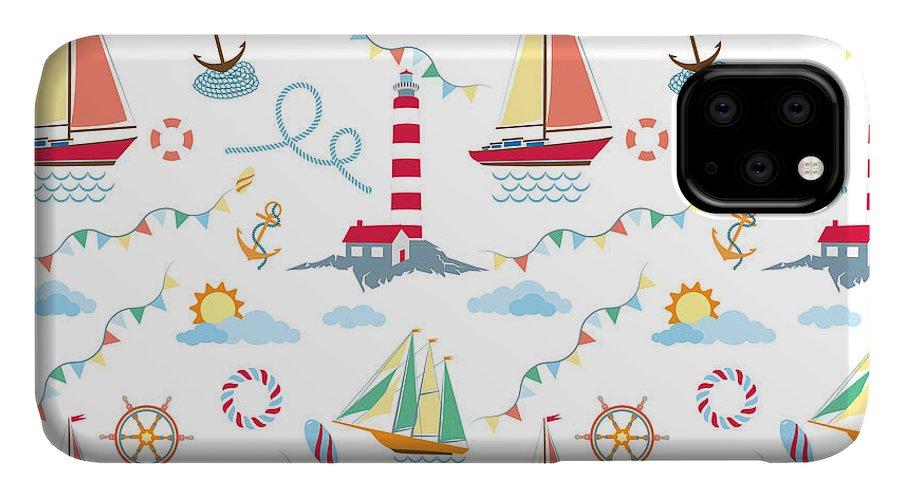 Lifebuoy IPhone Case featuring the digital art Seamless Marine Pattern With Ships by Julia kondakov