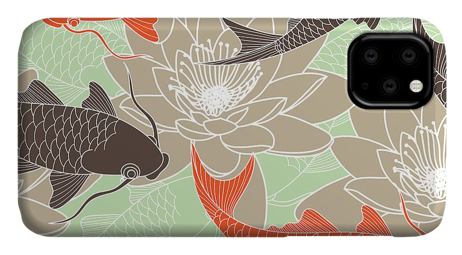 Pond IPhone Case featuring the digital art Seamless Pattern With Lotus And Carps by Tets