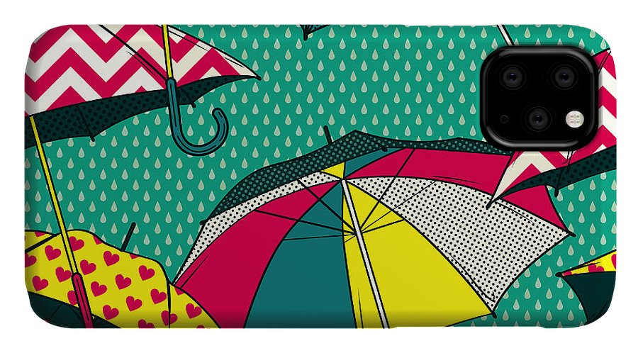 Cloud IPhone 11 Case featuring the digital art Seamless Vector Pattern With Colorful by Primsky