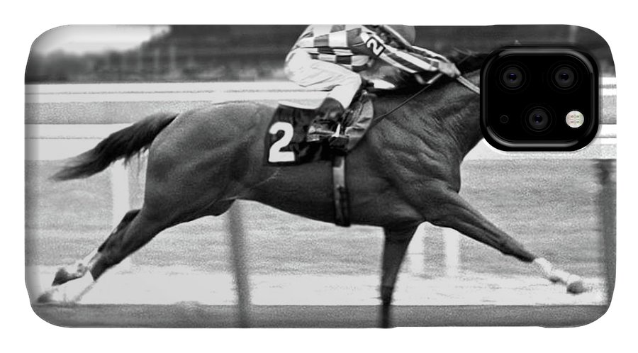 Secretariat IPhone Case featuring the mixed media Secretariat, Belmont Stakes, back stretch by Thomas Pollart