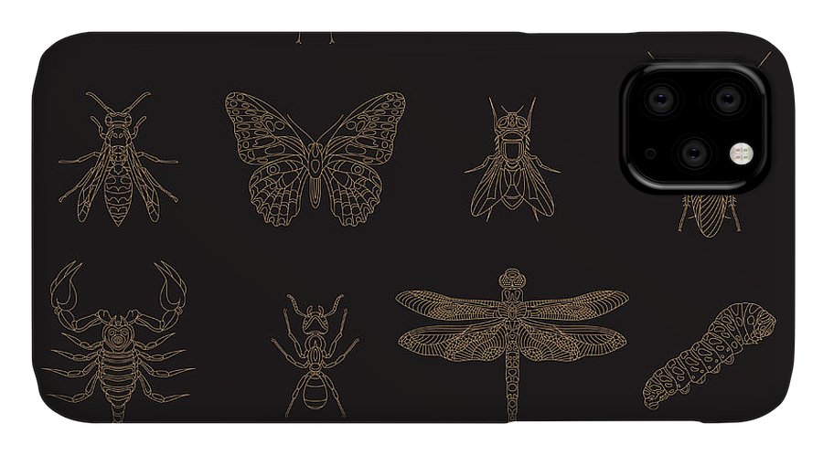 Pets IPhone Case featuring the digital art Set Of Vintage Thin Line Insects Icons by Karnoff