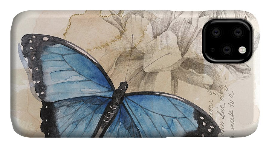Animals & Nature+butterflies & Bees IPhone Case featuring the painting Shadow Box Butterfly II by Grace Popp