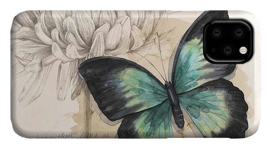 Animals & Nature+butterflies & Bees IPhone Case featuring the painting Shadow Box Butterfly IIi by Grace Popp