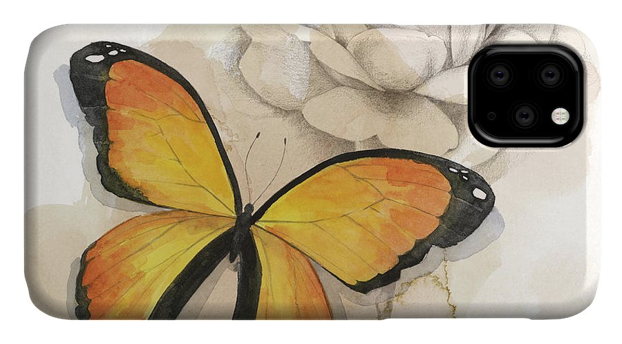 Animals & Nature+butterflies & Bees IPhone Case featuring the painting Shadow Box Butterfly Iv by Grace Popp