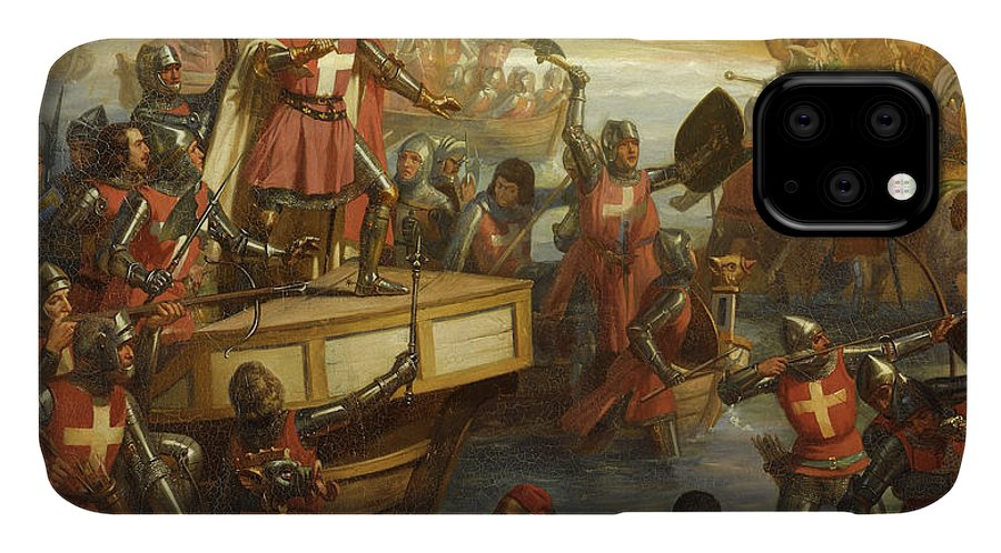 Siege Of Smyrna IPhone 11 Case featuring the painting Siege Of Smyrna by Charles-Alexandre Debacq