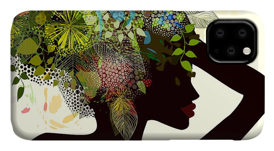 Fancy IPhone Case featuring the digital art Silhouette Of A Girl With Flowers by Ihnatovich Maryia