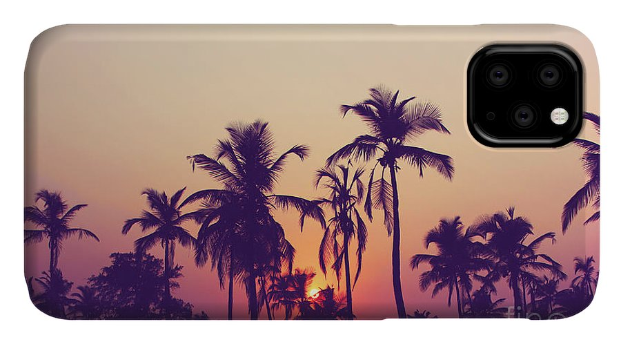 Palm IPhone Case featuring the photograph Silhouette Of Palm Trees At Sunset by Grop
