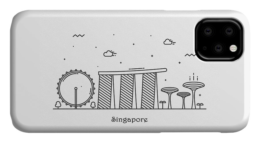 Singapore IPhone Case featuring the drawing Singapore Cityscape Travel Poster by Inspirowl Design