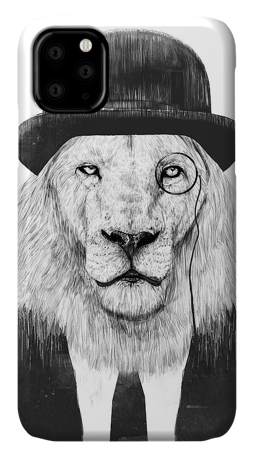 Lion IPhone Case featuring the mixed media Sir Lion by Balazs Solti