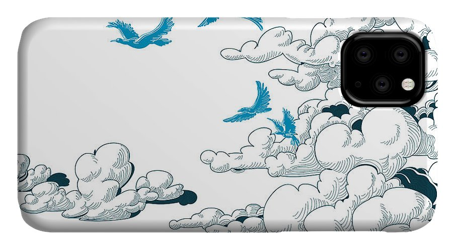 Atmosphere IPhone Case featuring the digital art Sky Background, Clouds And Blue Birds by Danussa