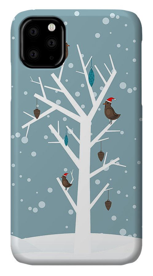 Symbol IPhone Case featuring the digital art Snow Fall Background With Birds Sitting by Allies Interactive