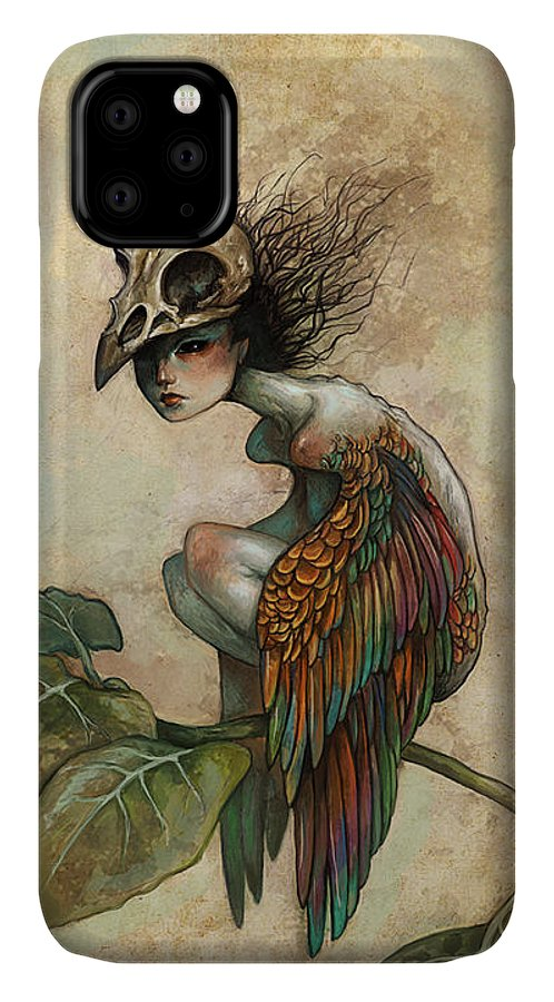 Bird IPhone Case featuring the painting Soul of a Bird by Caroline Jamhour
