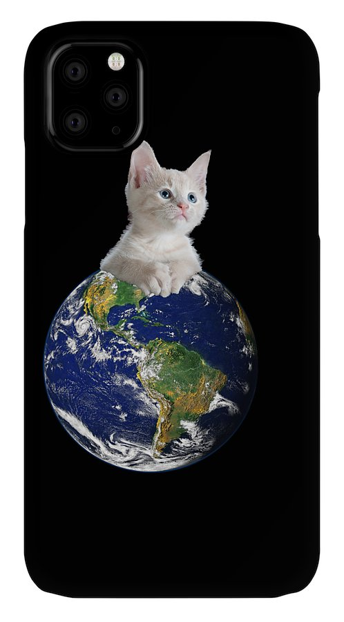 Climate Change IPhone Case featuring the digital art Space Kitten Ruler of Earth Funny by Flippin Sweet Gear