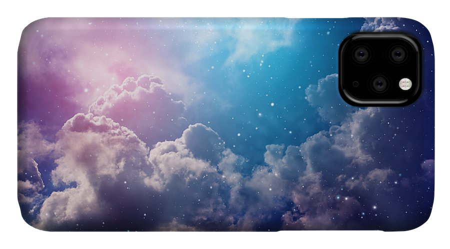 Cluster IPhone Case featuring the photograph Space Of Night Sky With Cloud And Stars by Nednapa