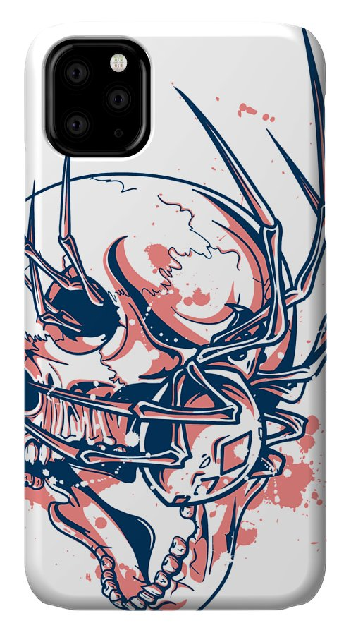 Halloween IPhone Case featuring the digital art Spider Crawling Skull by Passion Loft