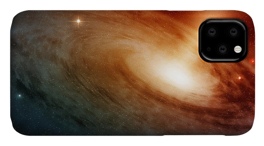 Big IPhone 11 Case featuring the photograph Spiral Galaxy System Glowing Into Deep by Paulista