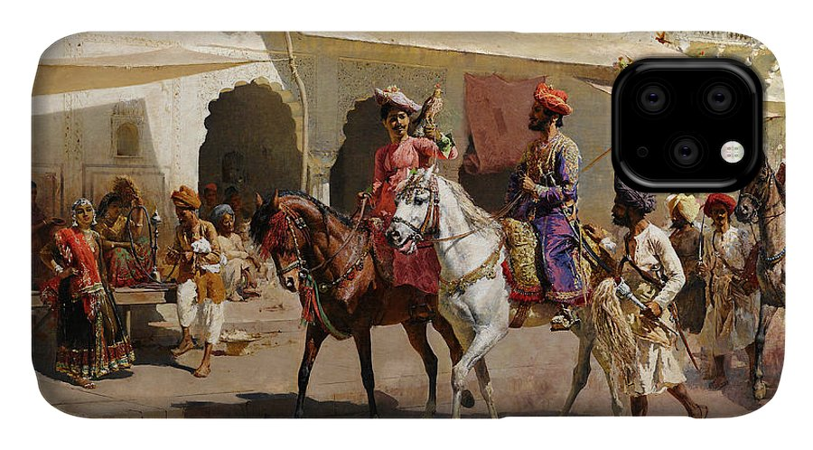 Start IPhone Case featuring the painting Start For The Hunt At Gwalior by Edwin Lord Weeks