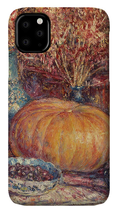 Still Life With Pumpkin IPhone Case featuring the painting Still Life With Pumpkin by George Morren
