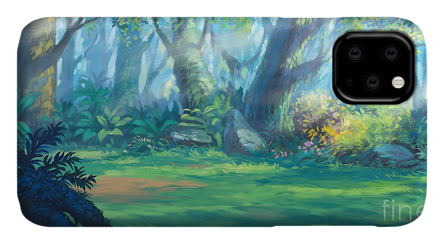 Country IPhone 11 Case featuring the digital art Sunrise Morning Inside Fantasy Forest by Noreefly