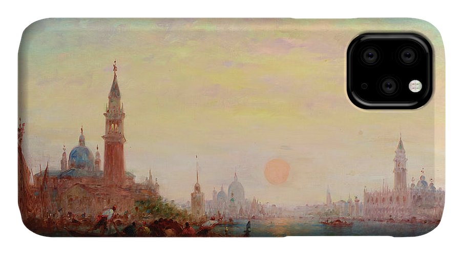Charles Clement Calderon IPhone Case featuring the painting Sunset On The Grand Canal, Venice by Charles Clement Calderon
