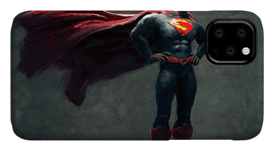 Guillemhp IPhone 11 Case featuring the digital art Superman Sketch 2 by Guillem H Pongiluppi