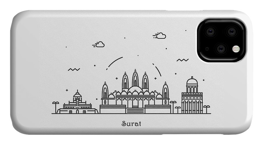 Surat IPhone Case featuring the drawing Surat Cityscape Travel Poster by Inspirowl Design