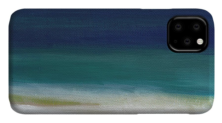 Abstract IPhone Case featuring the painting Surf and Sky- abstract beach painting by Linda Woods