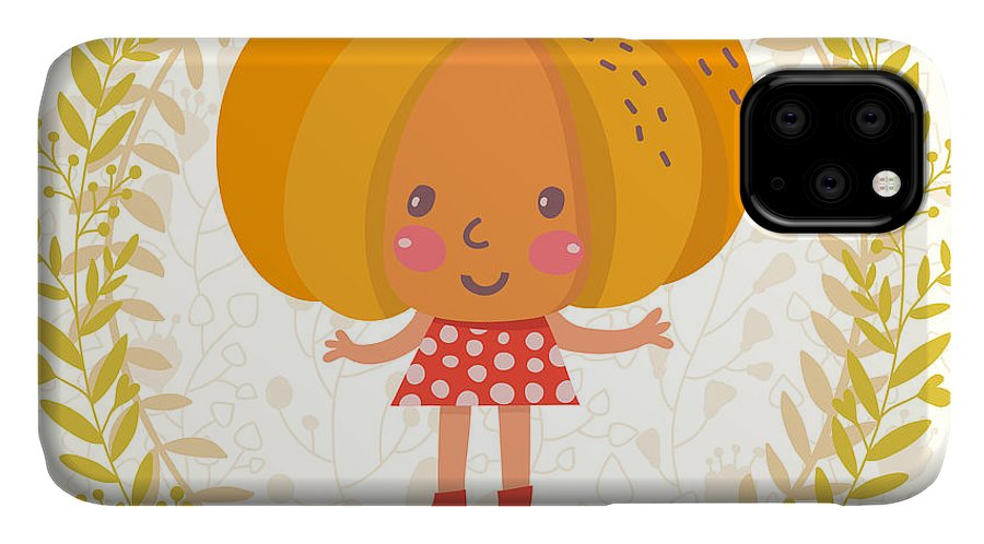 Salad IPhone Case featuring the digital art Sweet Pumpkin In Funny Cartoon Style by Smilewithjul