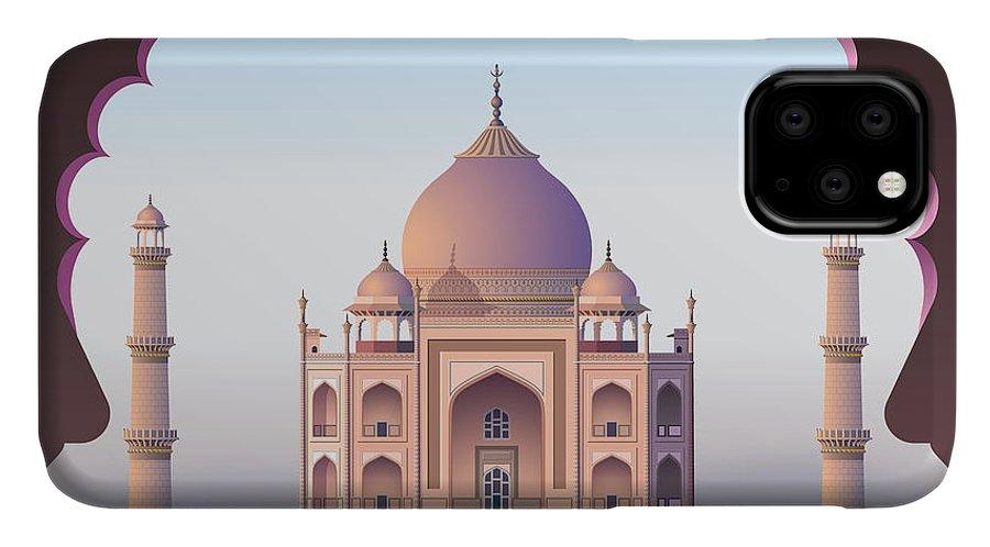 Beauty IPhone Case featuring the digital art Taj Mahal Through The Window by Nikola Knezevic