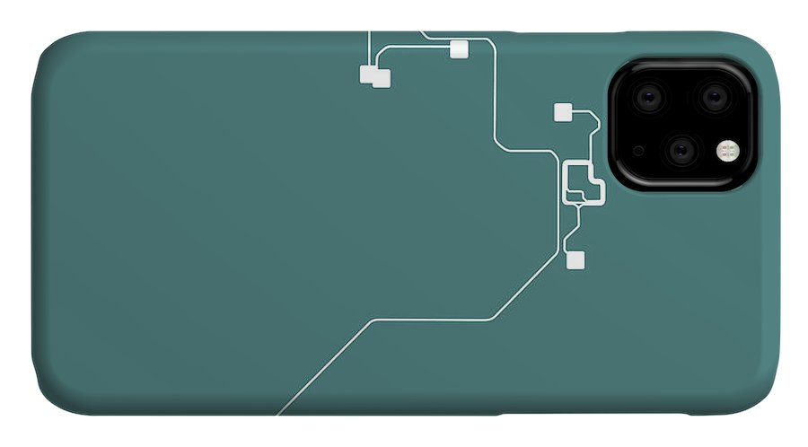Miami IPhone Case featuring the digital art Teal Miami Subway Map by Naxart Studio