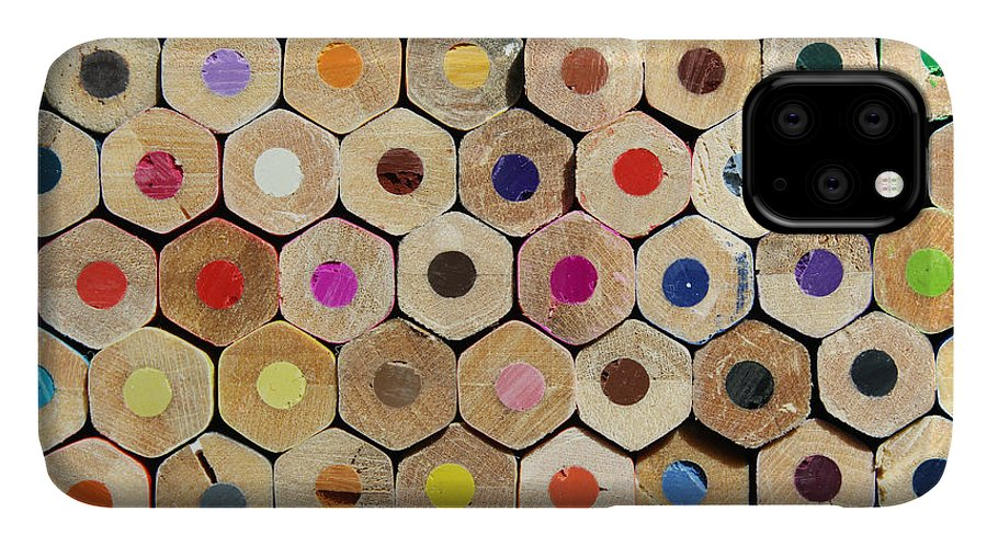 Hive IPhone Case featuring the photograph Texture Of Colored Pencils by Luma Creative