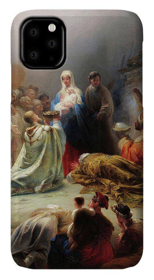 Domingos Antonio De Sequeira IPhone Case featuring the painting The Adoration Of The Magi, 19th Century by Domingos Antonio de Sequeira