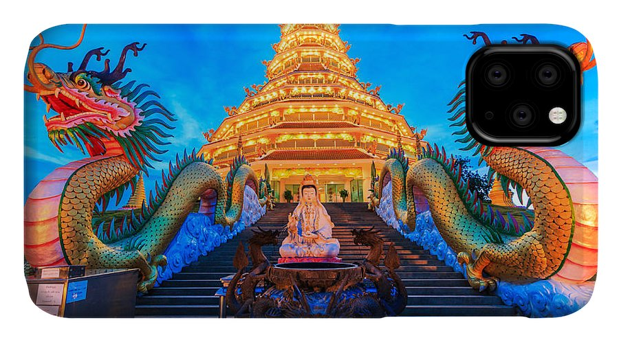 Chiangrai IPhone Case featuring the photograph The Dragon In Temple Wat Hyua Pla Kang by Apiguide